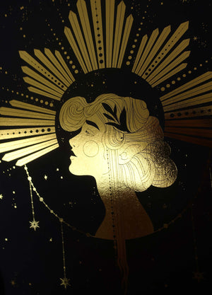 Litha Summer Solstice Gold foil on black paper artwork print by Cocorrina & Co Shop