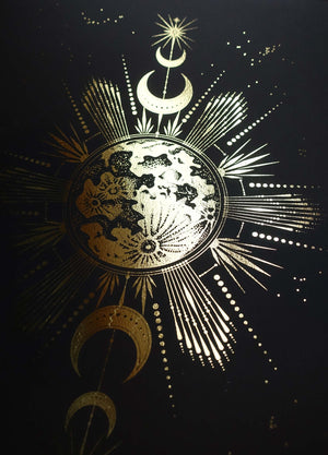 Catching the Moonrise art print in gold foil and black paper with stars and moon by Cocorrina