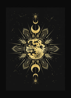 Longest Night art print in gold foil and black paper with stars and moon by Cocorrina