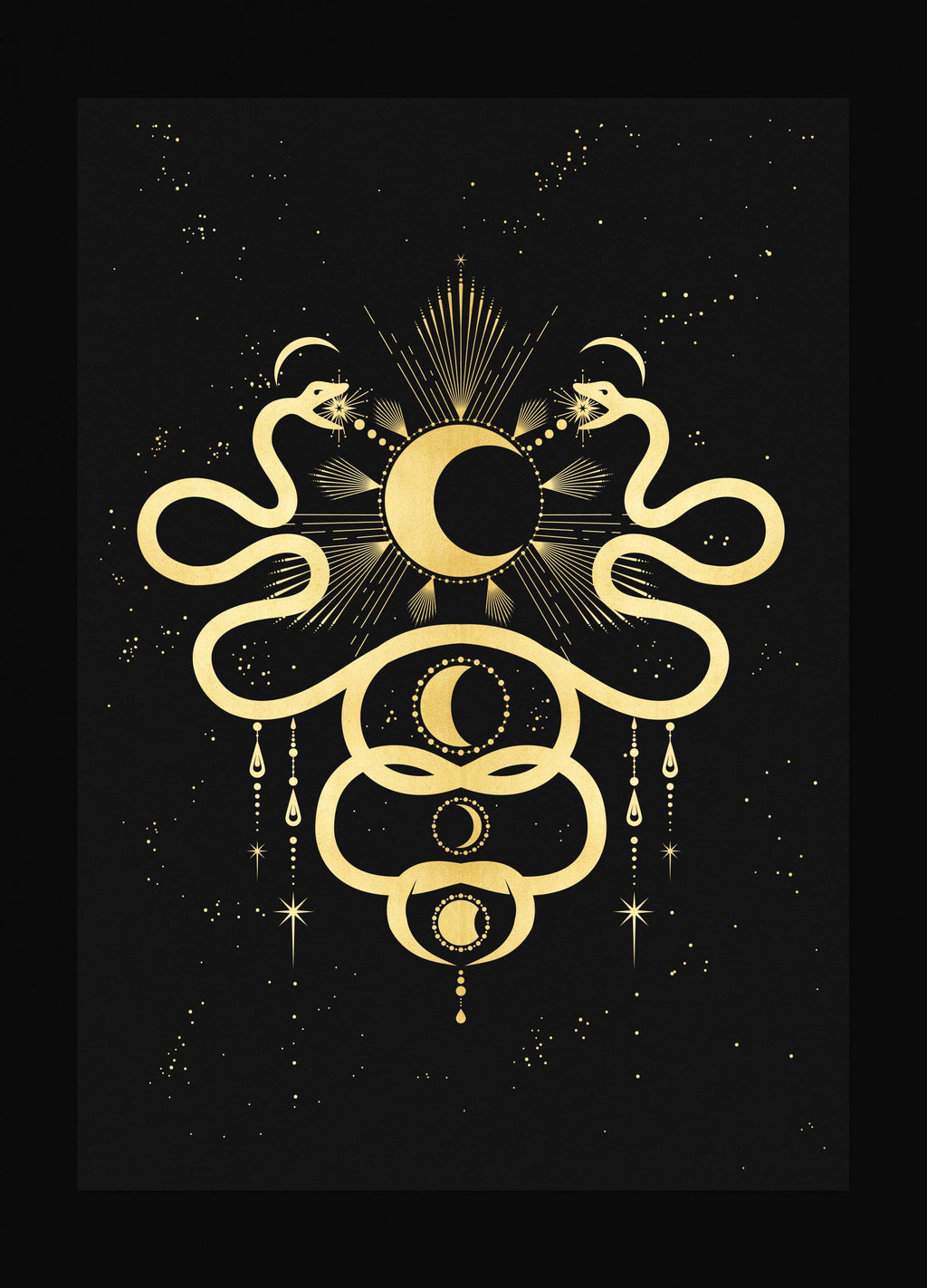 Love by the Moon snakes in gold foil and black paper with stars and moon by Cocorrina