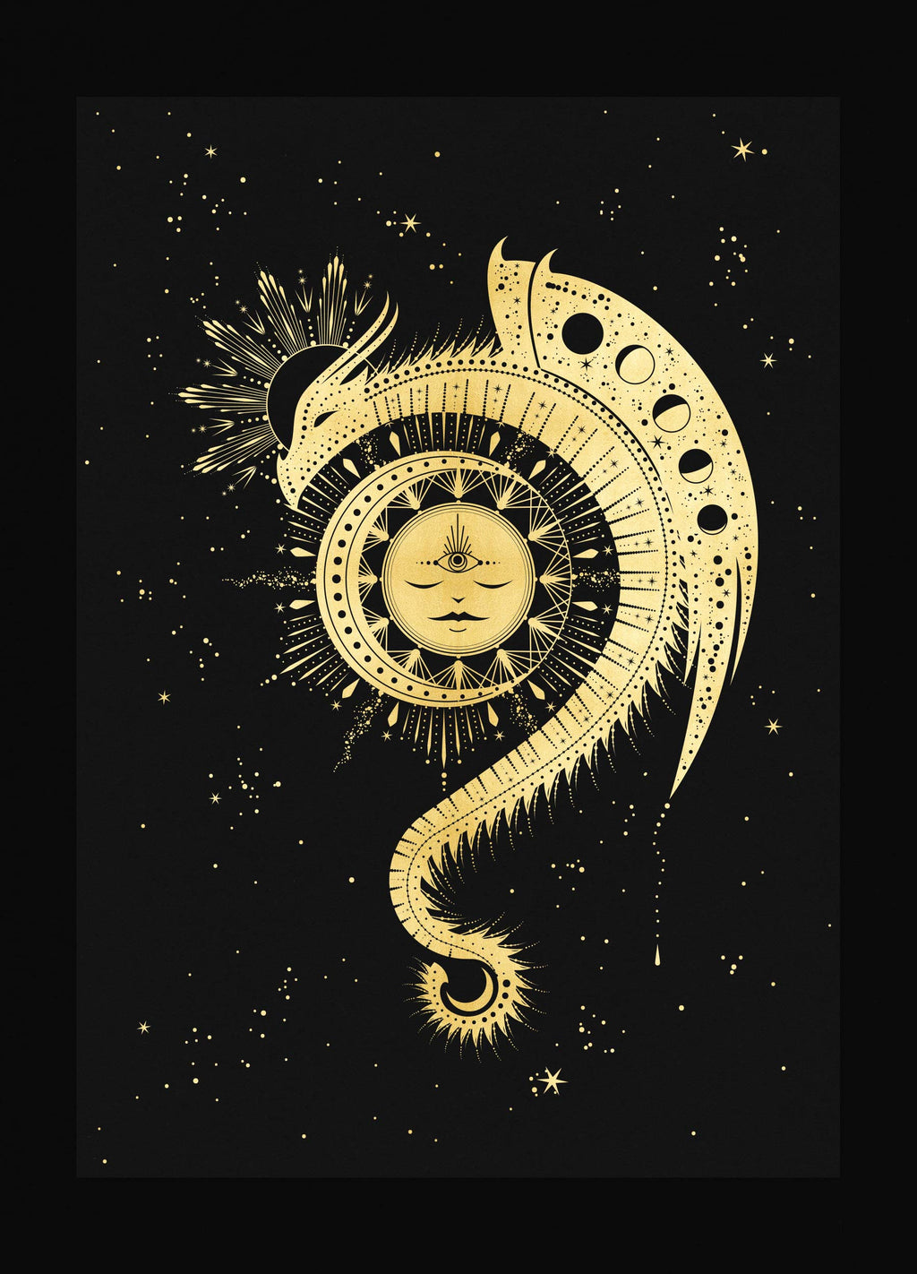 Magic Dragon sun and moon art print in gold foil and black paper with stars and moon by Cocorrina
