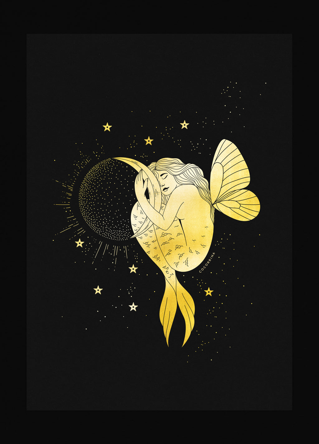 Mermaid Butterfly holding a Moon in gold foil on black paper art print by Cocorrina & Co