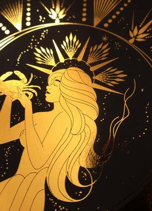 Cancer Mermaid gold foil print on black paper by Cocorrina & Co Shop