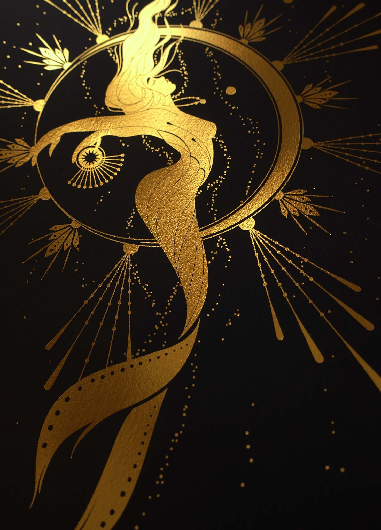 Mermaid under the Moonlight gold foil print on black paper by Cocorrina & Co Design studio