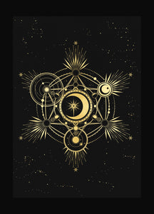 Metatron Cube, sacred geometry art print in gold foil and black paper with stars and moon by Cocorrina