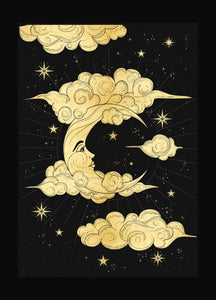 Moon in the Clouds gold foil Print on black paper by Cocorrina & Co Shop and Designs Studio