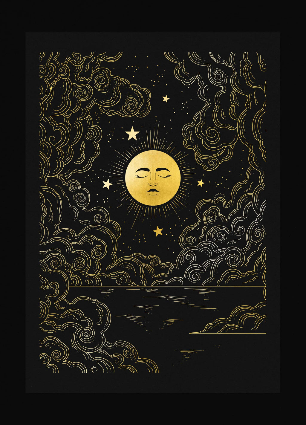 Full Moon glow n the night sky gold foil art print on black paper by Cocorrina & Co
