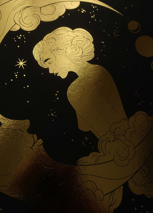Moon Goddess gold foil art print on black paper by Cocorrina & Co Shop and Design Studio