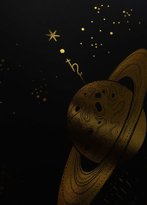 The Great Conjunction with Saturn and Jupiter and moon gold foil art print on black paper by Cocorrina & Co