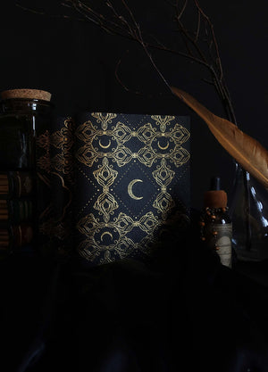 Black Moon Leather dot journal with gold foil by Cocorrina & Co