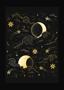 Moon Magic, with clouds and stars, night sky gold foil art print on black paper by Cocorrina & Co