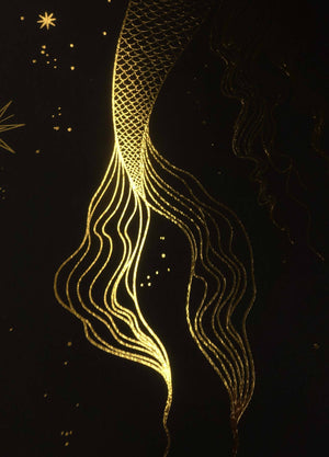 Moon Mermaid gold foil art print by Cocorrina & Co Design Studio and shop
