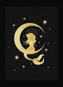 Queen moon mermaid gold foil print on black paper by Cocorrina & Co Shop and Design Studio