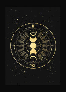 Moon Phase Totem art print in gold foil and black paper with stars and moon by Cocorrina