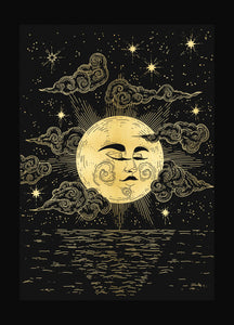 Moon watching over us gold foil print on black paper by Cocorrina & Co Shop