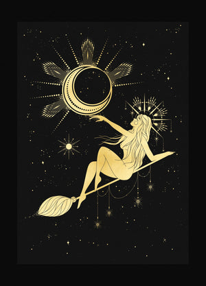 Moon Witch gold foil art print on black stock paper by Cocorrina & Design Studio & Shop