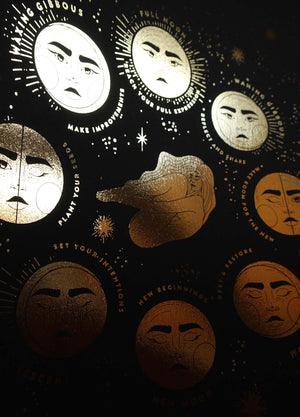 Moon Faces Gold foil art print on black paper by Cocorrina & Co Studio and Shop