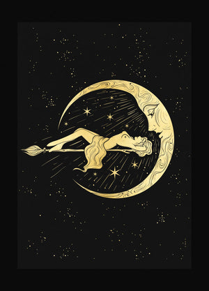Moonbathing gold foil print on black paper by Cocorrina & Co Shop and Design Studio