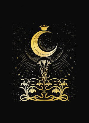 Moonlight Aroma, with flowers - the Lady of the Night Moon gold foil art print on black paper by Cocorrina & Co
