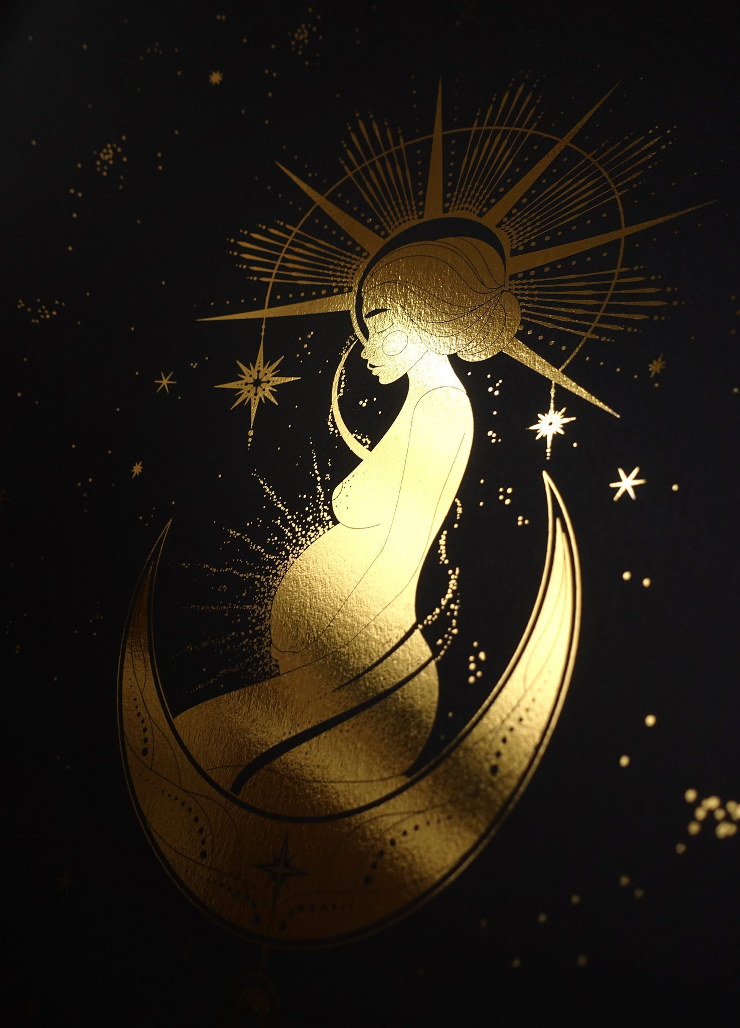 Sacred Goddess Mother gold foil print on black stock paper by Cocorrina & Co Design Studio & Shop