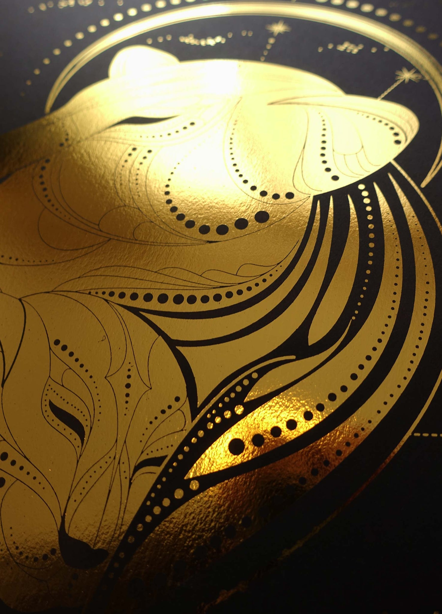 Mother Lion gold foil print on black paper by Cocorrina & Co design studio