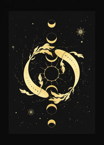 New Moon in Pisces gold foil print by Cocorrina & Co studio