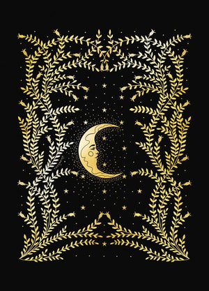 Night botanical forest gold foil art print on black paper by Cocorrina & Co