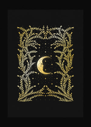 Moon Night botanical forest gold foil art print on black paper by Cocorrina & Co