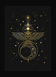 Night Priestess Owl and Moon totem gold foil art print on black paper by Cocorrina & Co