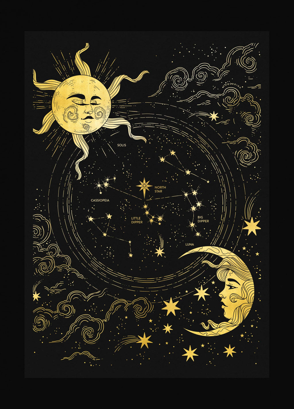 The North Star sky map gold foil art print on black paper by Cocorrina & Co