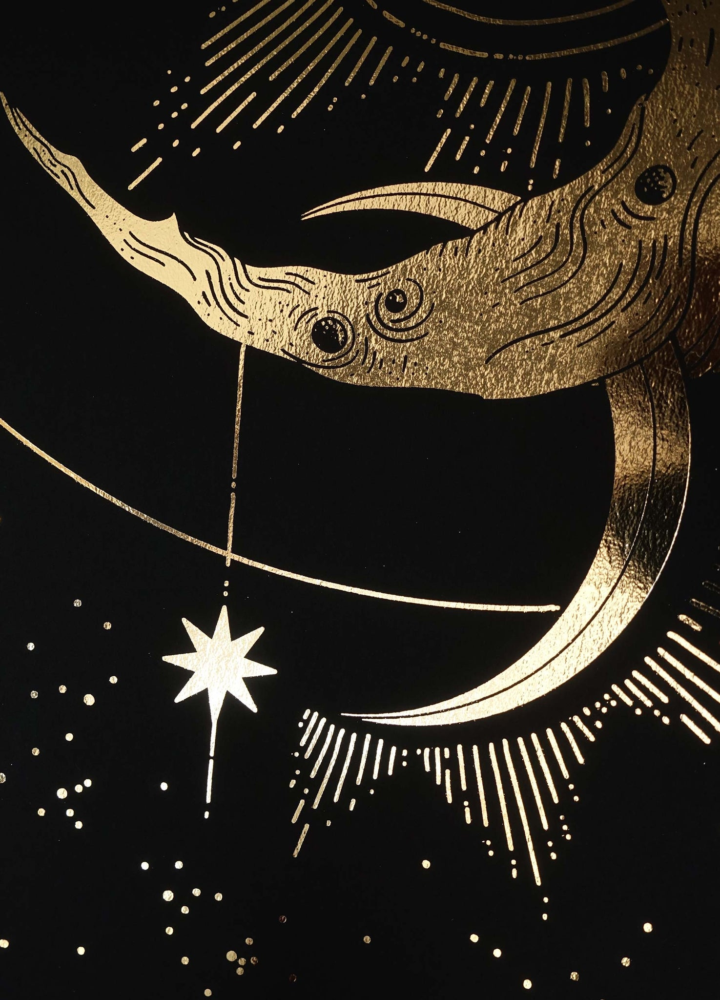 October's Moon in gold foil and black paper by Cocorrina & Co Shop