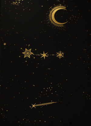 Orion's Belt constellation gold foil print by Cocorrina & Co studio