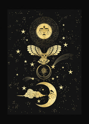 Owl Totem with Moon and Sun Print gold foil on black paper by Cocorrina & Co