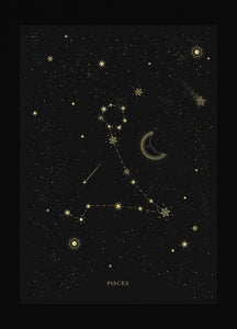 Pisces zodiac constellation gold metallic foil print on black paper by Cocorrina