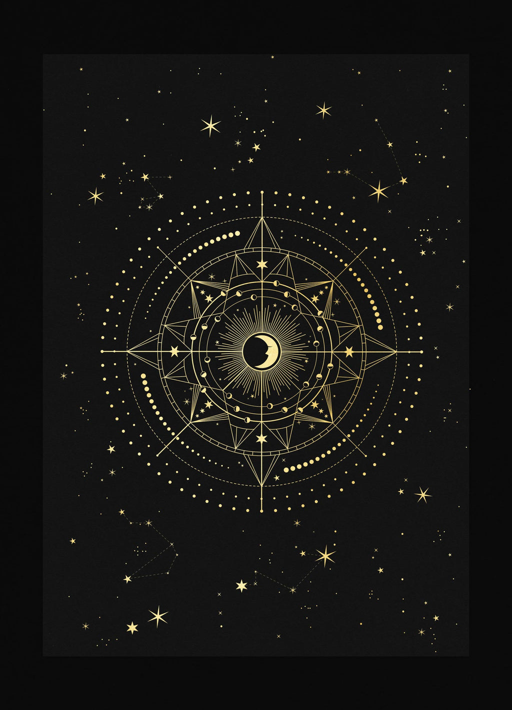 Protection Talisman art print in gold foil and black paper with stars and moon by Cocorrina