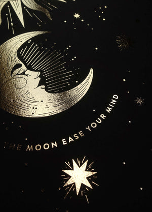 Gold foil print on black paper - Sun & Moon by Cocorrina & Co Studio and Shop