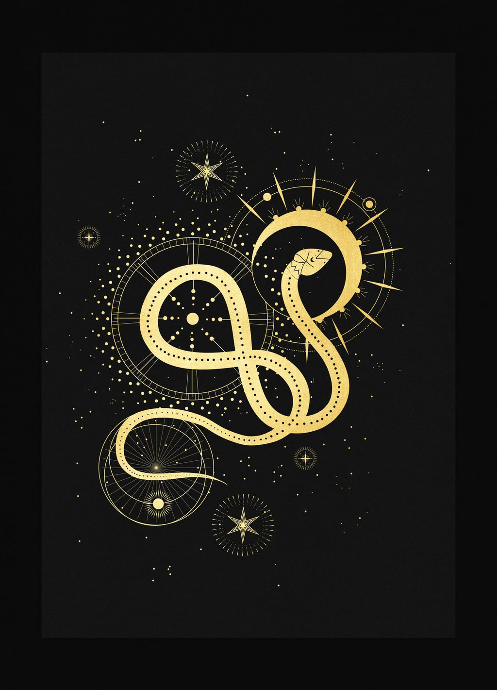 Sacred Snake art print in gold foil and black paper with stars and moon by Cocorrina