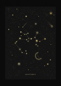 Sagittarius zodiac constellation gold metallic foil print on black paper by Cocorrina