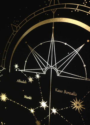 Sagittarius Zodiac Constellation gold foil on black paper by Cocorrina & Co