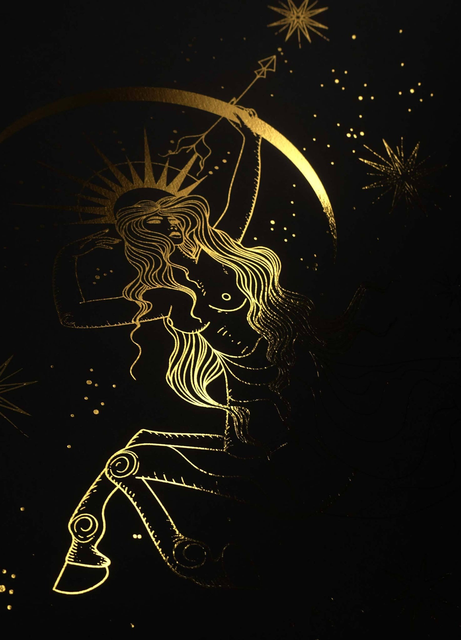 Sagittarius Goddess gold foil art print on black paper by Cocorrina & Co Design studio and shop