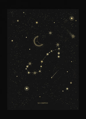 Scorpio zodiac constellation gold metallic foil print on black paper by Cocorrina