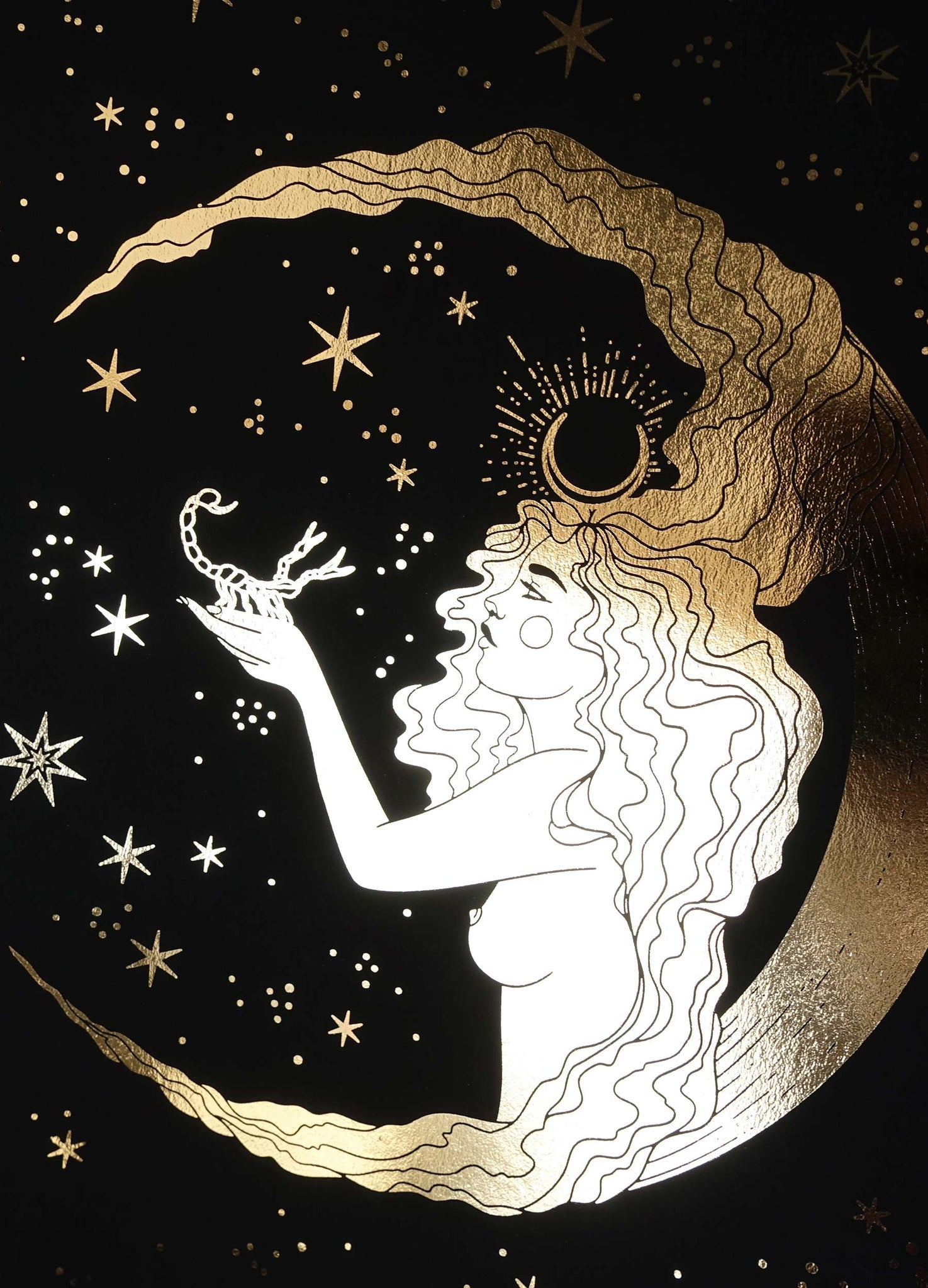 Scorpio Moon Goddess gold foil on black paper by Cocorrina & Co Shop