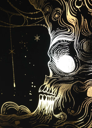 Skull Moon Samhain Print in gold foil on black paper by Cocorrina & Co