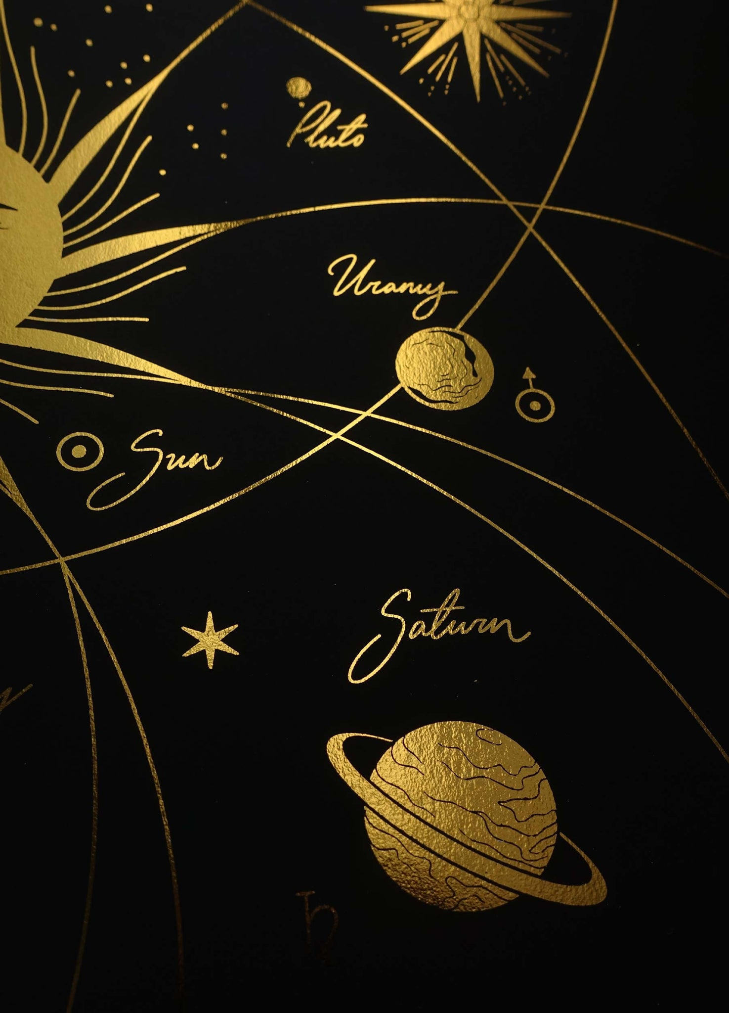 Solar System gold foil art print on black paper by Cocorrina & Co