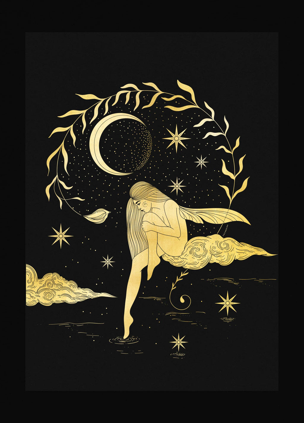 Star Fairy gold foil art print on black paper by Cocorrina & Co