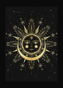 Sun Moon Affair art print in gold foil and black paper with stars and moon by Cocorrina