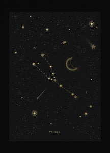 Taurus zodiac constellation gold metallic foil print on black paper by Cocorrina