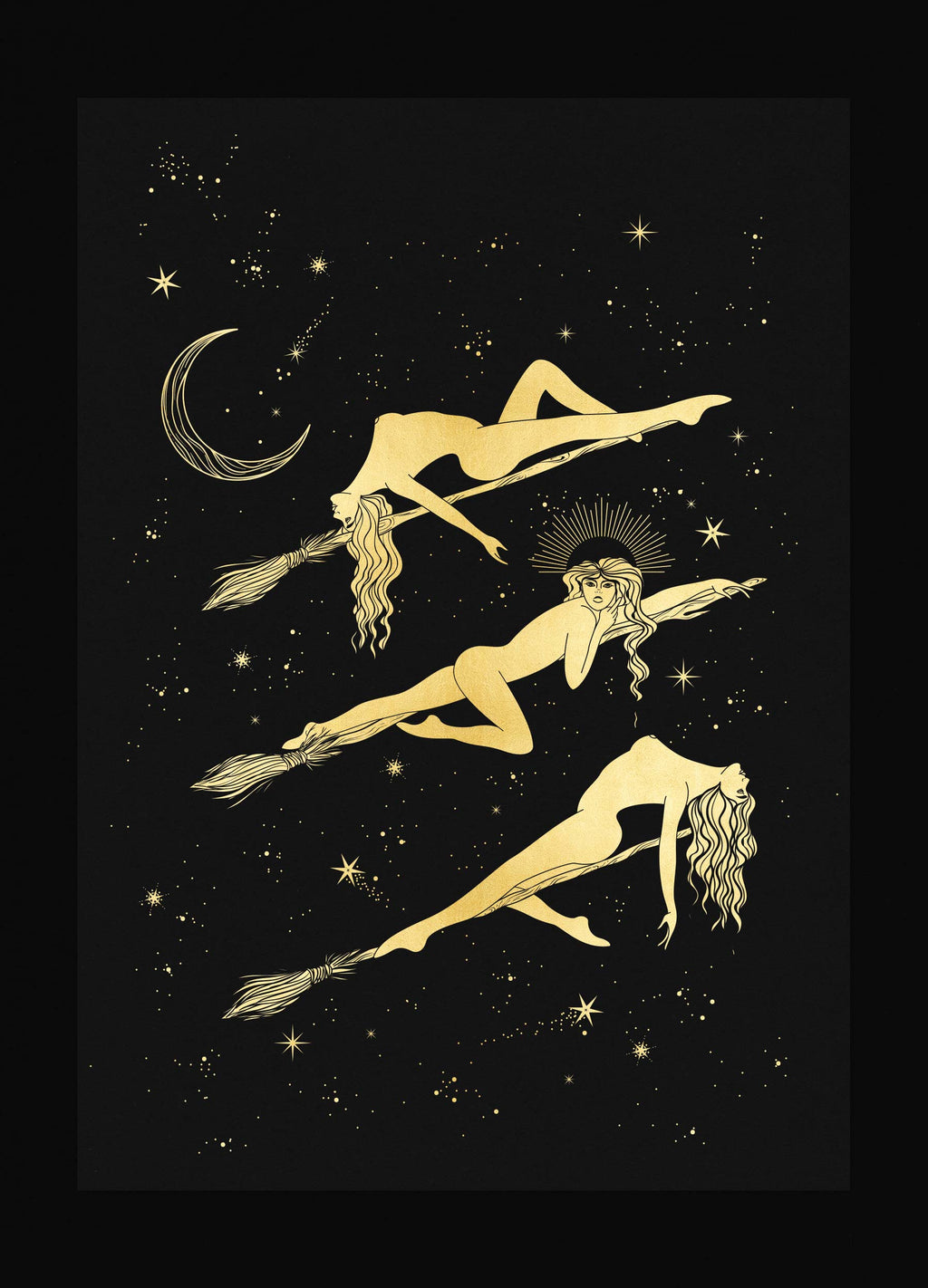The Coven gold foil print on black paper by Cocorrina & Co Shop