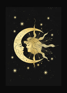 The Lovers Sun & Moon gold foil print on black paper by Cocorrina & Co Shop and Design Studio