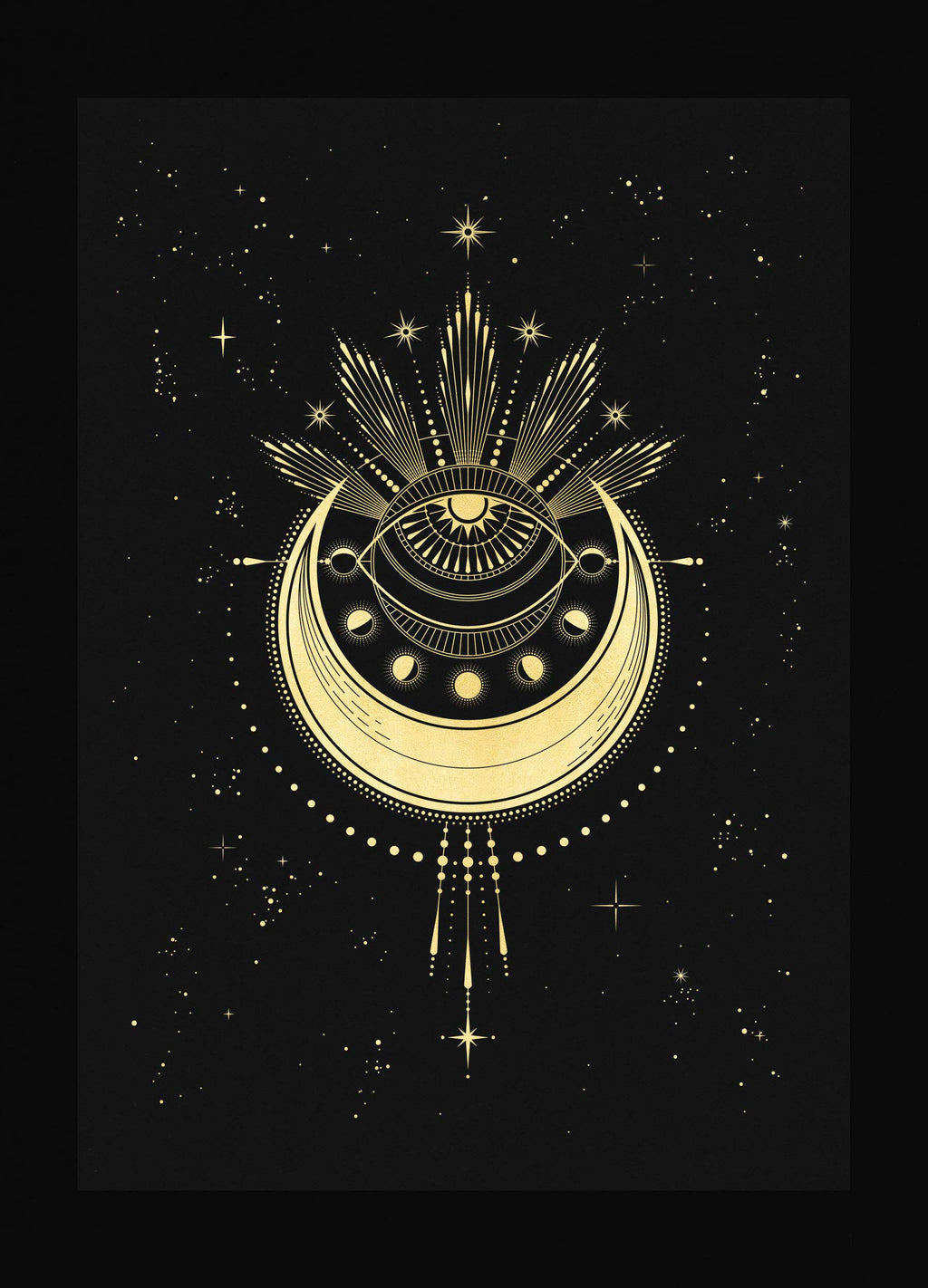 The Minds Eye art print in gold foil and black paper with stars and moon by Cocorrina